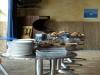 Der Frühstückstisch vor dem großen Andrang am Buffet.
