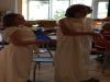 Helene und Rabea haben sich als Griechen verkleidet.